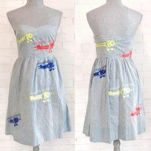 Anthropologie Strapless Wright Airplane dress